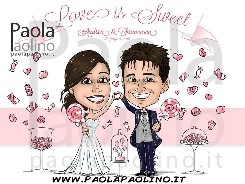 f3bb96a5db12 La caricatura di una coppia di sposi con il loro tema del matrimonio  tante  caramelle