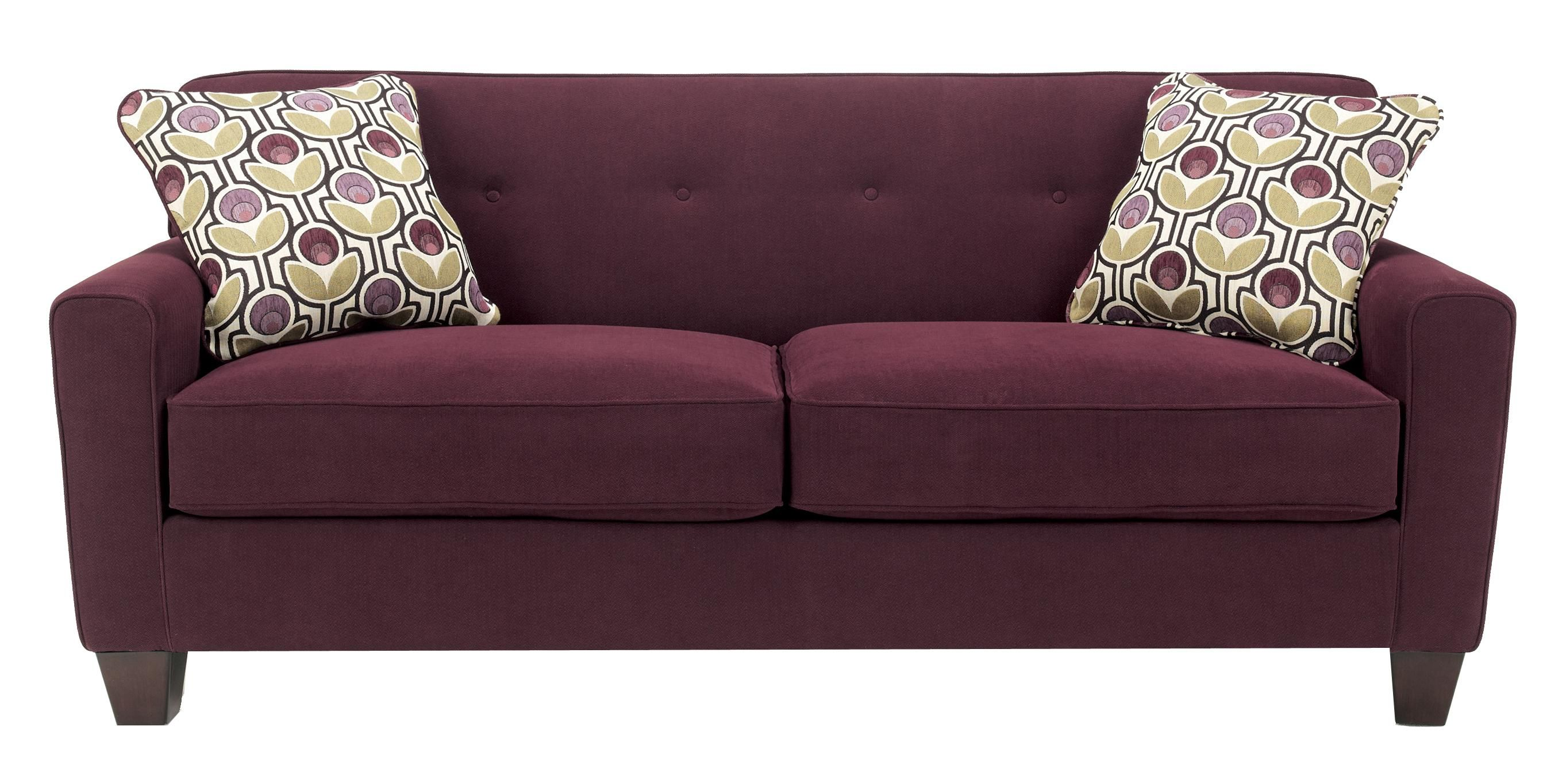Danielle Eggplant Contemporary Stationary Sofa With Wood Feet By