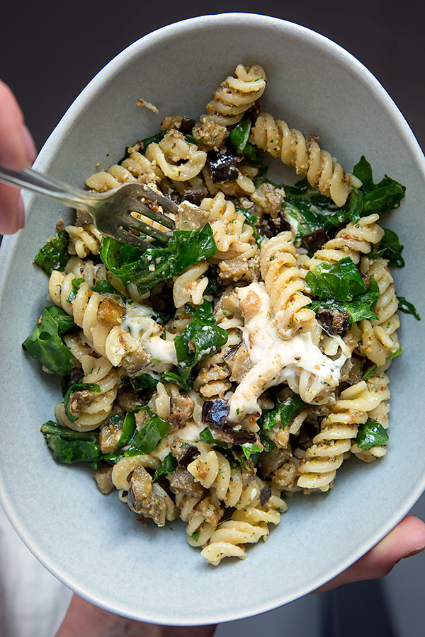 Photo of Fusilli with walnut pesto and aubergines – madame cuisine