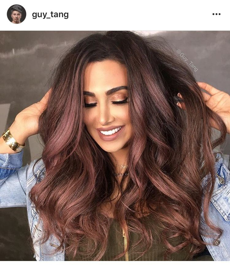 Rose Gold highlights on Chocolate Brown Hair | Hair Color ...