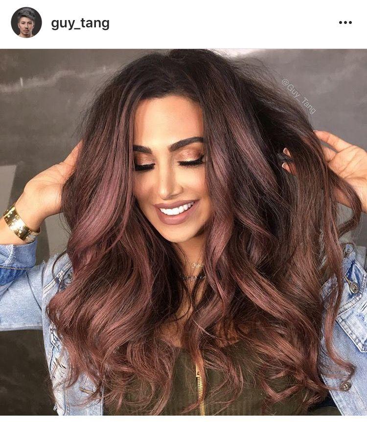 Rose Gold Highlights On Chocolate Brown Hair Burgundy Hair Hair Color Dark Hair Styles