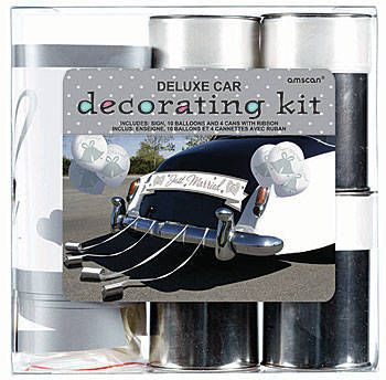 Our Just Married Car Decorating Kit in white, silver and black contains everything you need to decorate a vehicle on the wedding day. Kit contains 1 sign, 10 balloons and 4 cans.