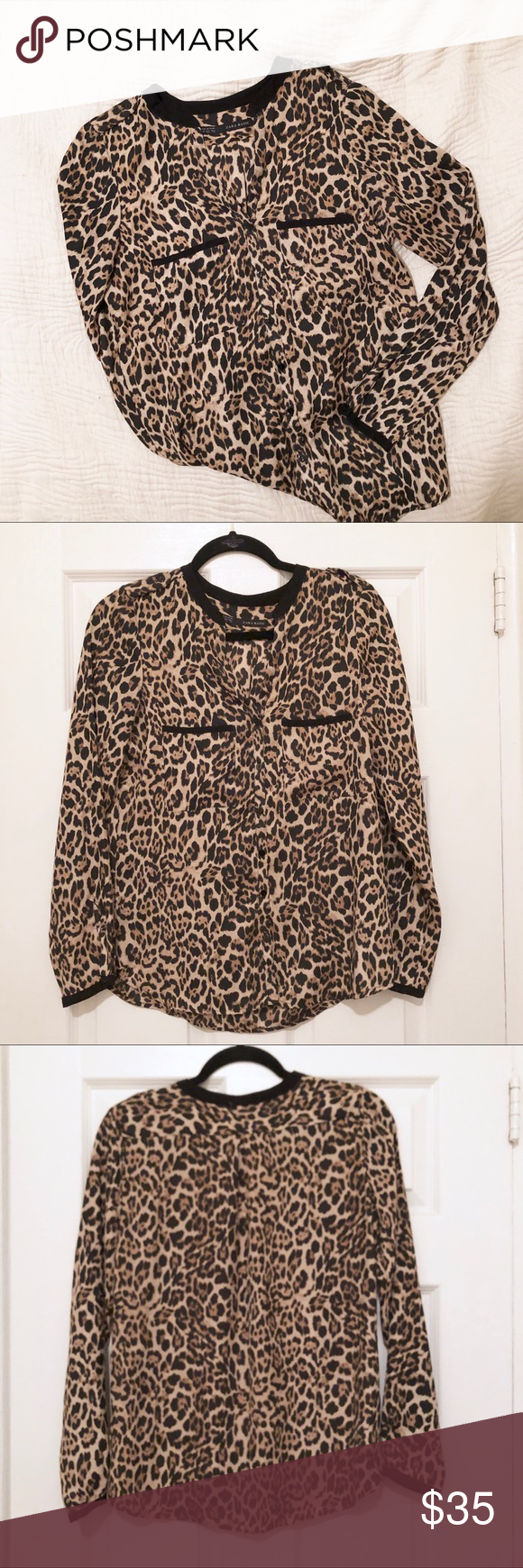c70defee20db Zara Leopard Blouse Zara silk long sleeve leopard blouse in size XS.  Buttons down the entire front with two chest pockets and black trim.