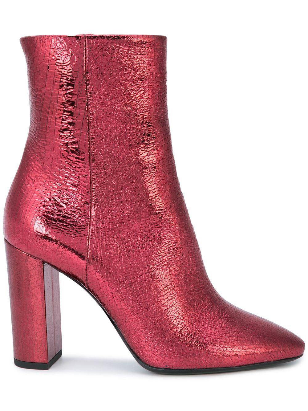 pink metallic saint laurent boots