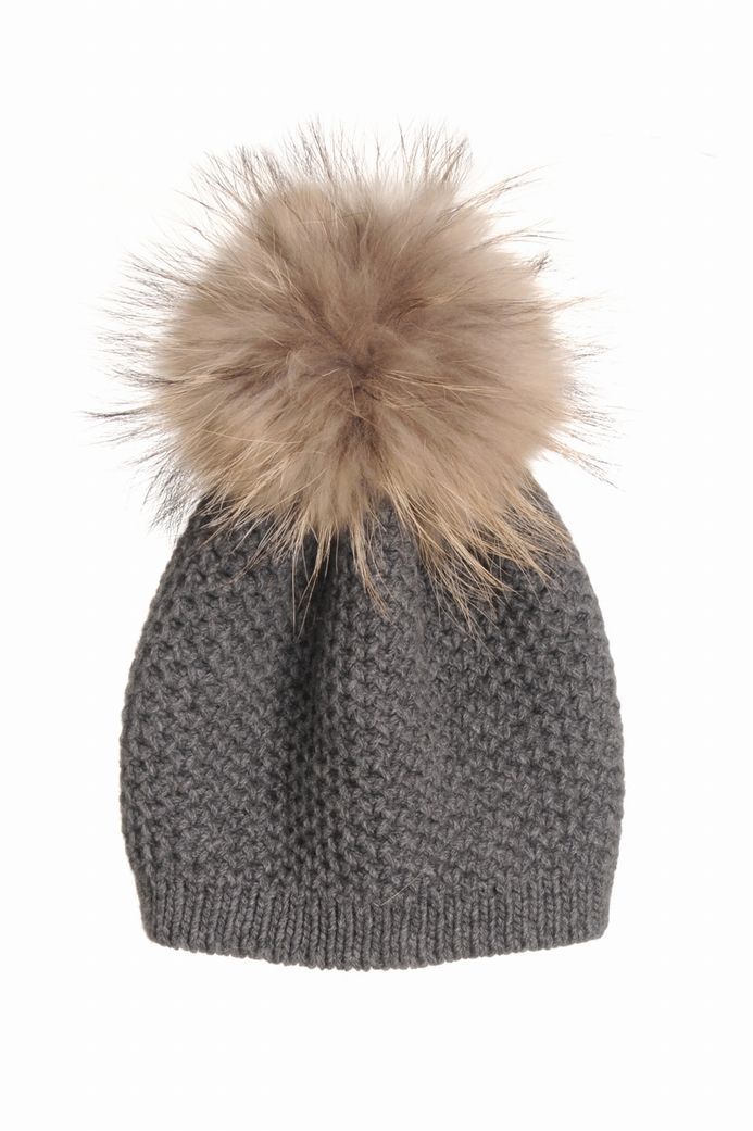 Pré-commander vif et grand en style capture BONNET POINT DE RIZ FOURRURE INVERNI-GRIS - Brand Bazar ...