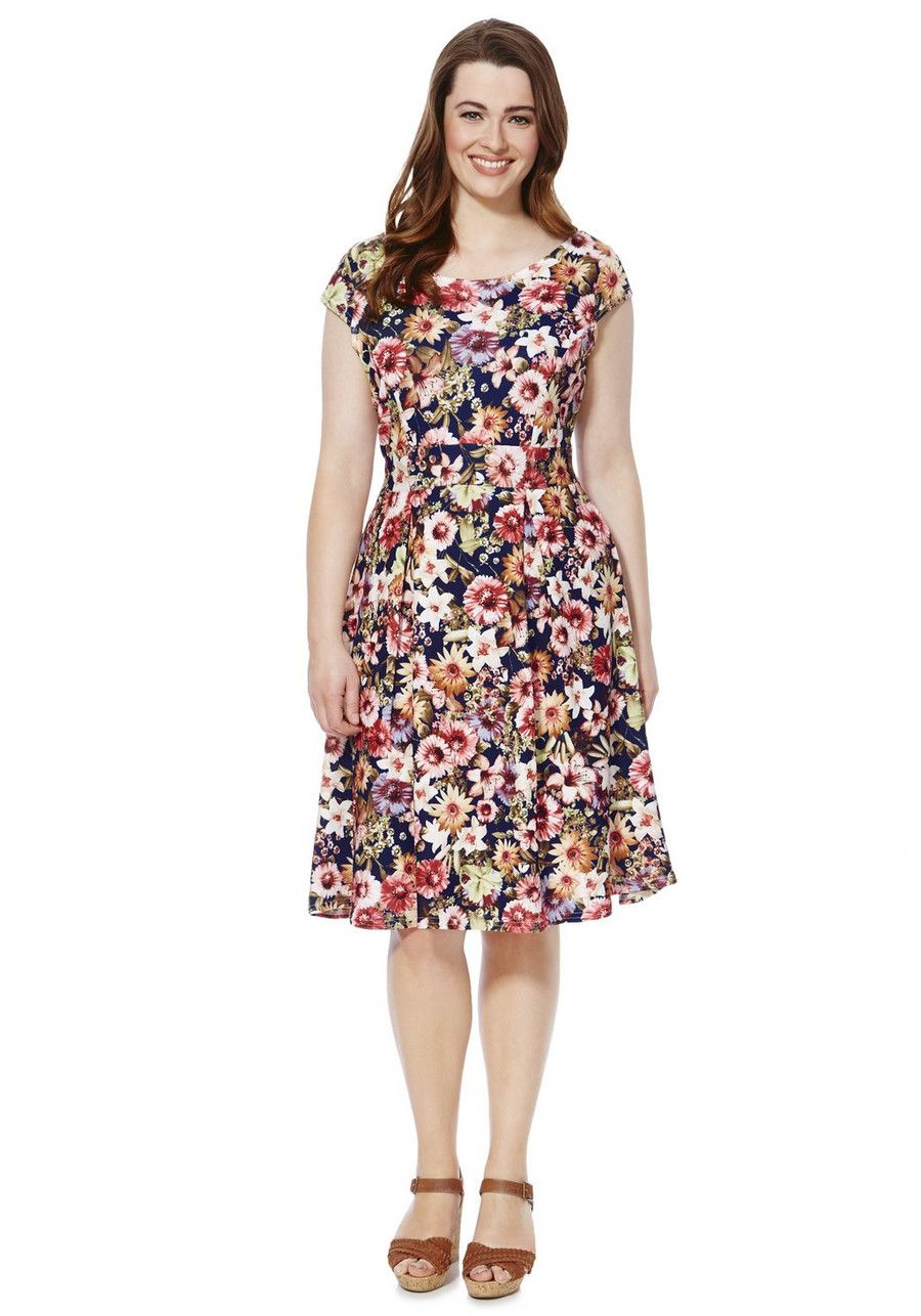 Clothing at Tesco | Sienna Couture Floral Print Plus Size Skater Dress >  dresses > Plus