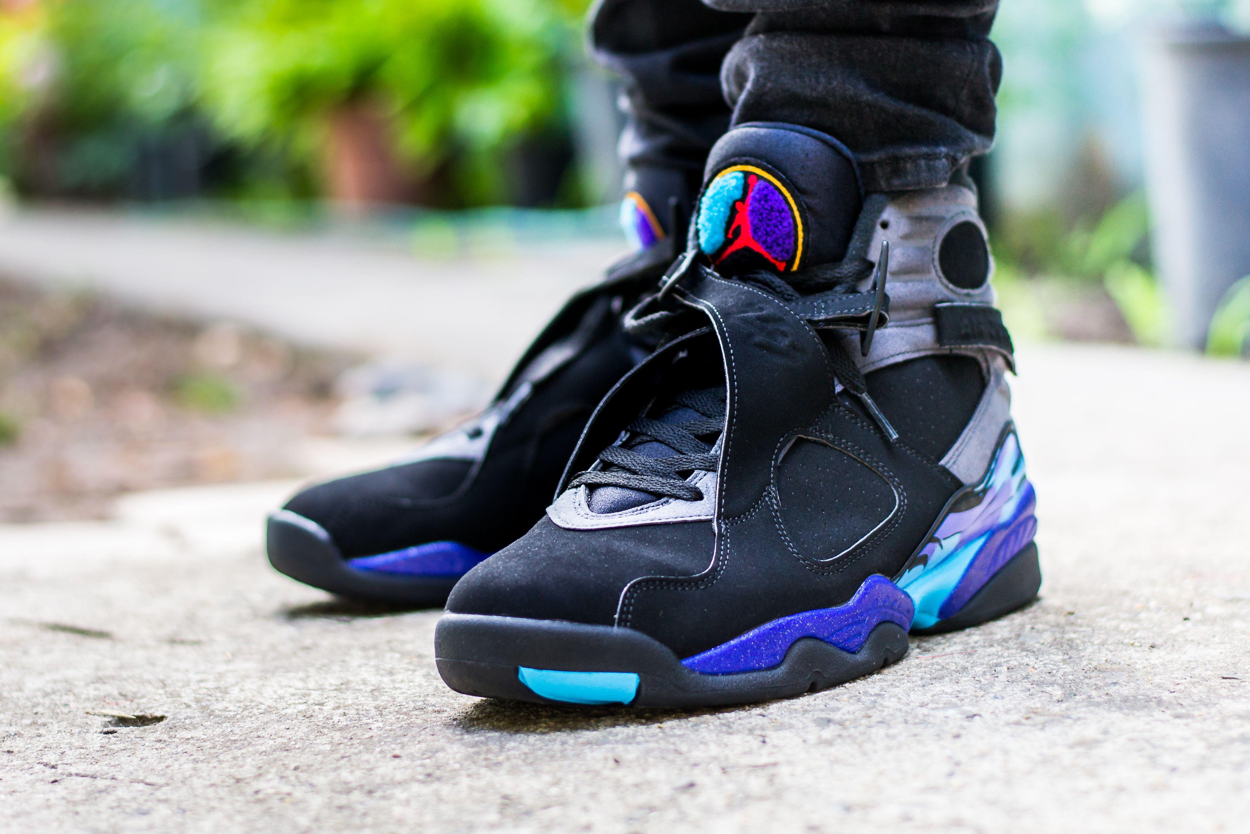 Air Jordan 8 Aqua On Feet Sneaker