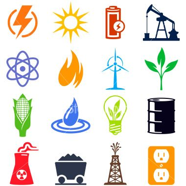 Alternative And Traditional Energy Sources Professional Icons For