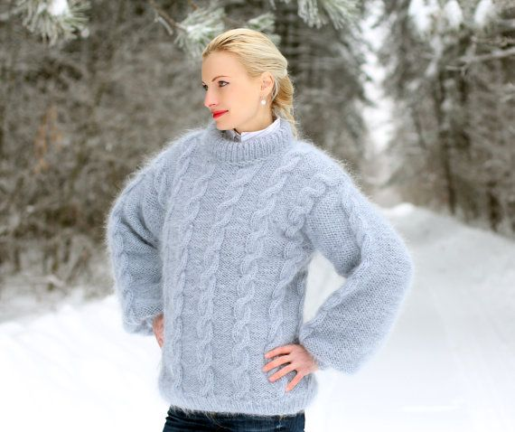 LUXURY HAND KNITTED Made to order cable knit mohair by supertanya