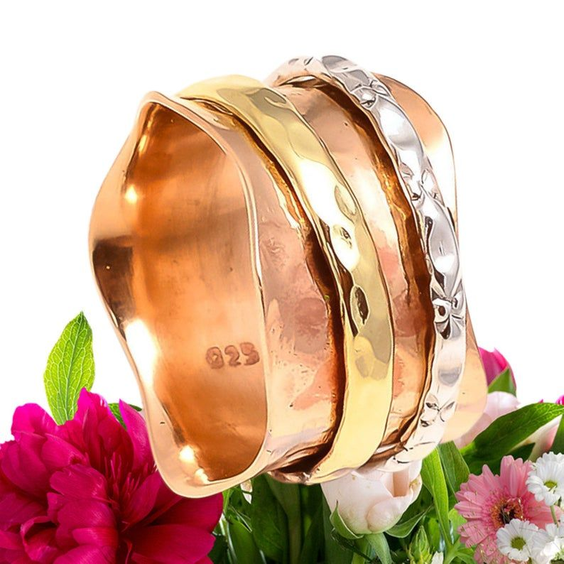 925 Solid Sterling Silver Wide Band  Solid Copper /& Brass Spinner Handmade Handicraft Jewelry Ring All Us Size Free Shipping Gorgeous !!