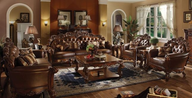 Vendome Oversized Formal Sofa U0026 Loveseat Set In Brown Cherry Faux Leather