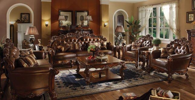 Vendome Oversized Formal Sofa Loveseat Set In Brown Cherry Faux