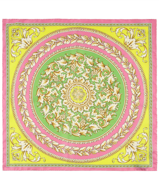 95a4e8adfd3 Pink Circle Leaf Baroque Print Silk Scarf