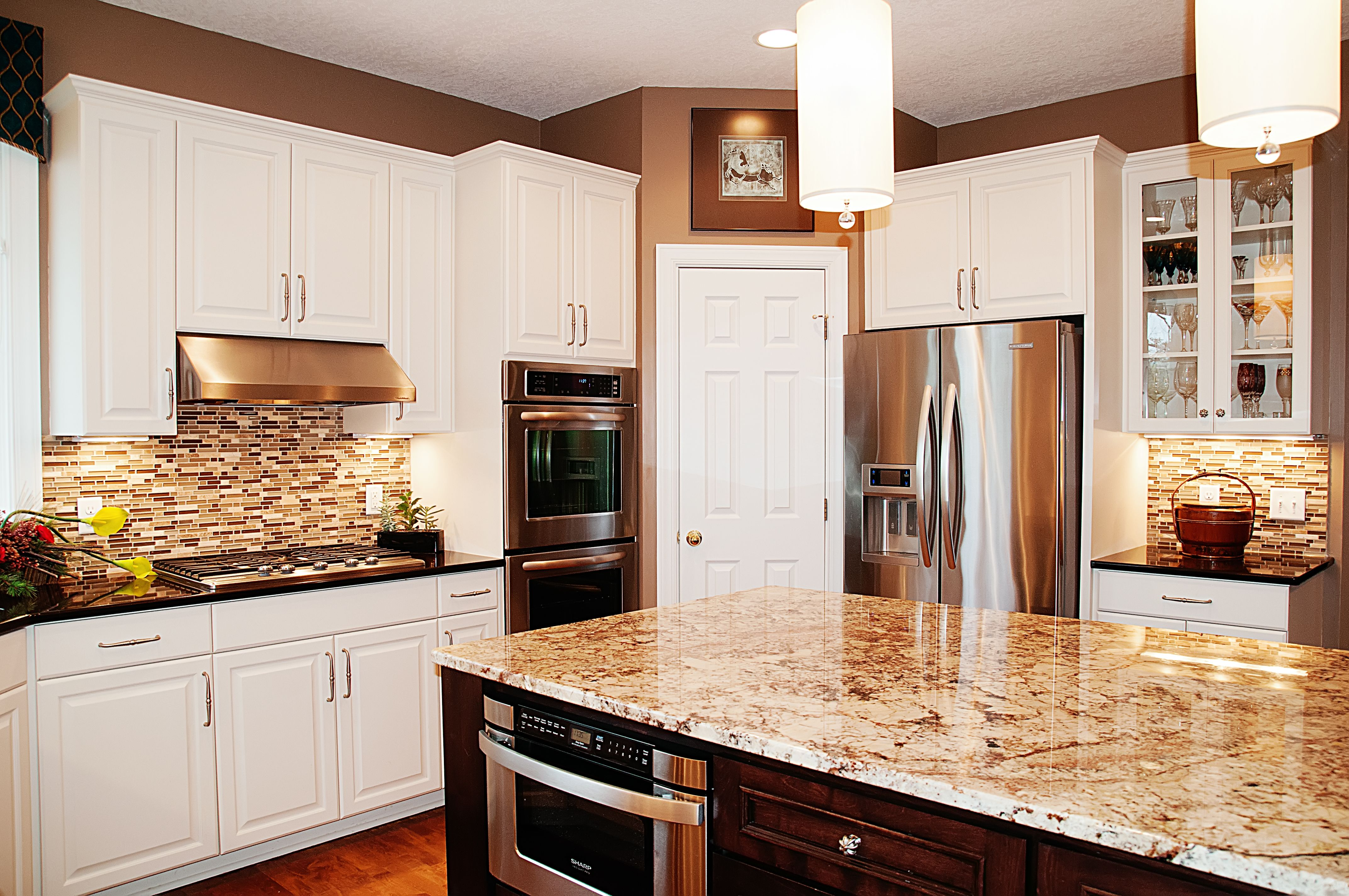 Update Kitchen Maple Cabinets Kitchen Updates Enameled Cabinets Contrasting Stained
