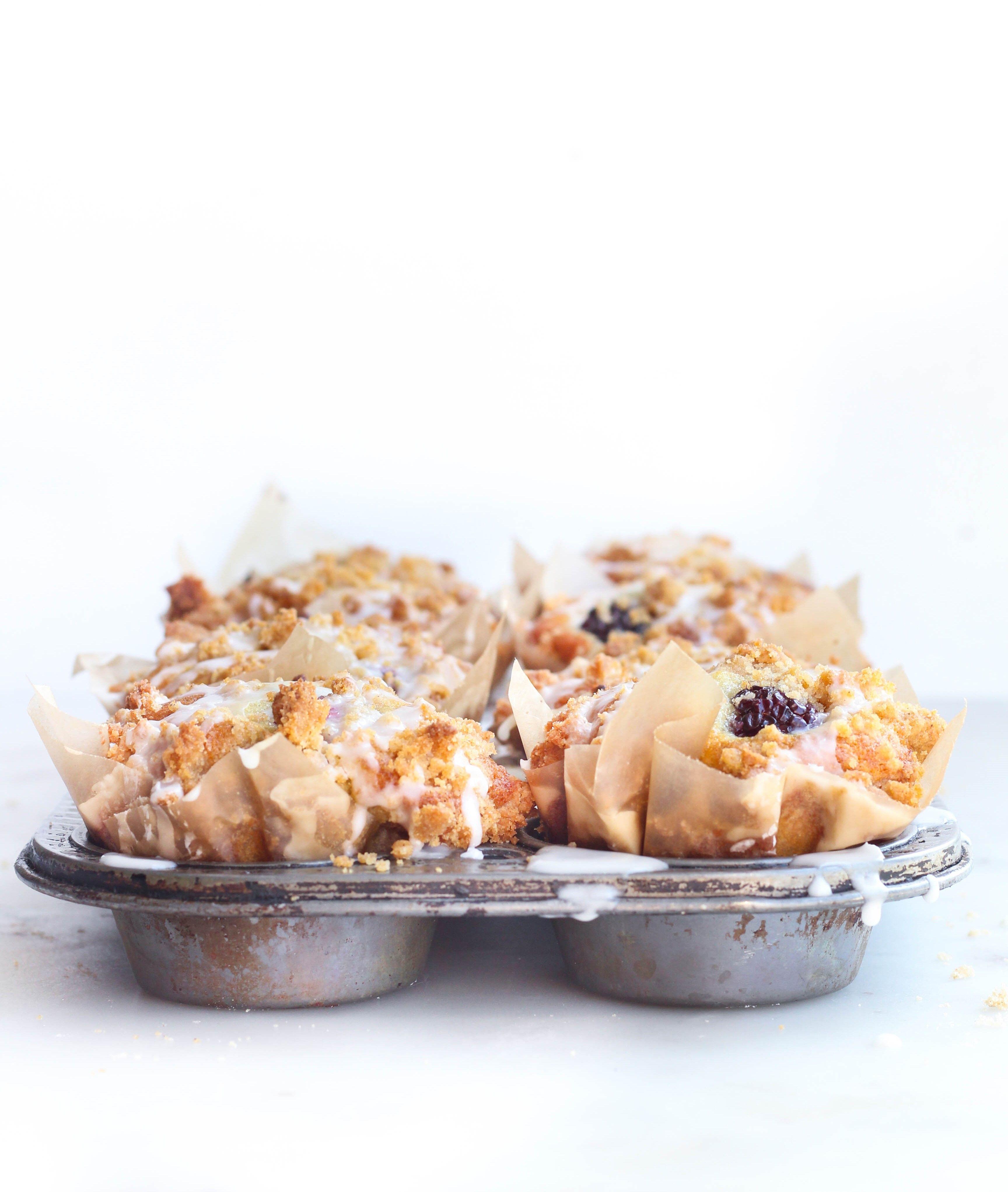 Blackberry greek yogurt crumb muffins with images