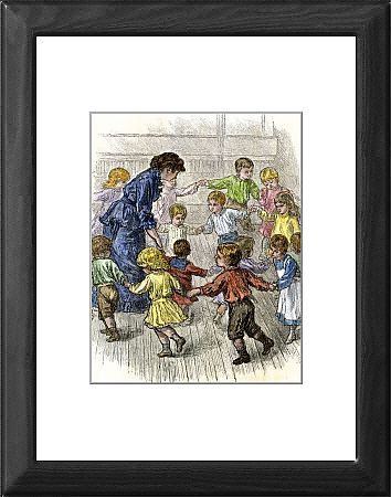 Kindergarten children playing a game, 1870s Framed Print from North Wind Picture Archives, Home life