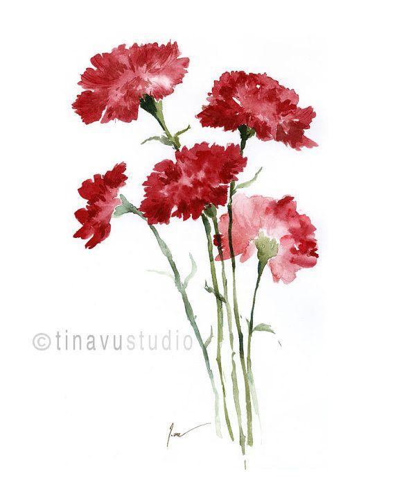 Mother S Day Gift Sale 40 Off Red Carnations Carnation Watercolor January Birthday Flowers Giclee Art Print Flower Print 11 X14 Watercolor Flower Prints Watercolor Flowers Flower Prints