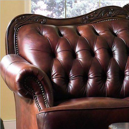 Amazon Com Victoria Classic Button Tufted Leather Sofa Set Home Kitchen Tufted Leather Sofa Leather Sofa Set Leather Sofa
