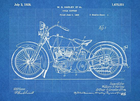 Harley davidson motorcycle us patent art 1928 blueprint poster print harley davidson motorcycle us patent art 1928 blueprint poster print malvernweather Gallery