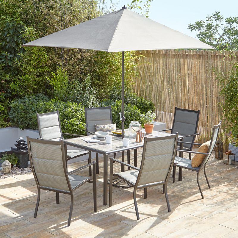 Windermere 6 Seat Tile Table Set - Dobbies Garden Centres   Garden ...