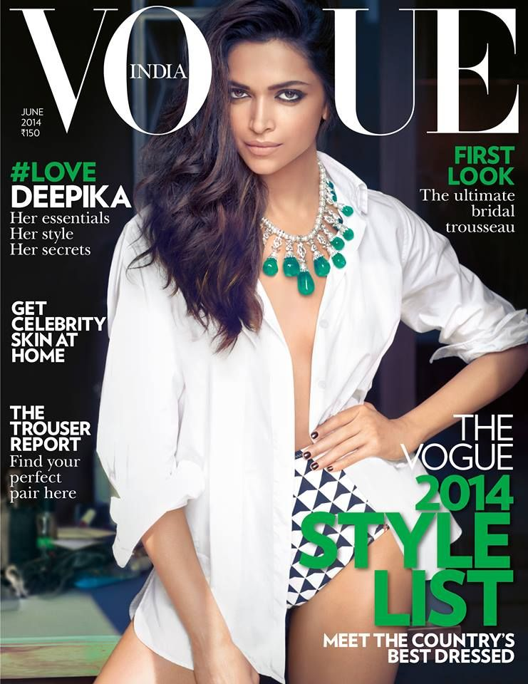 Vogue India June 2014 Deepika Padukone Cover Vogue India Deepika Padukone Fashion Magazine Cover