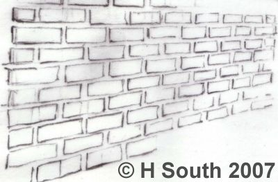 8 Steps To Drawing A Brick Wall In Perspective Brick Wall Drawing Wall Drawing Texture Drawing