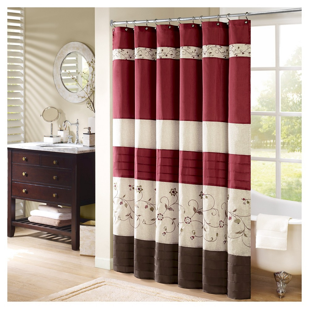 Monroe floral pieced u embroidered shower curtain red products