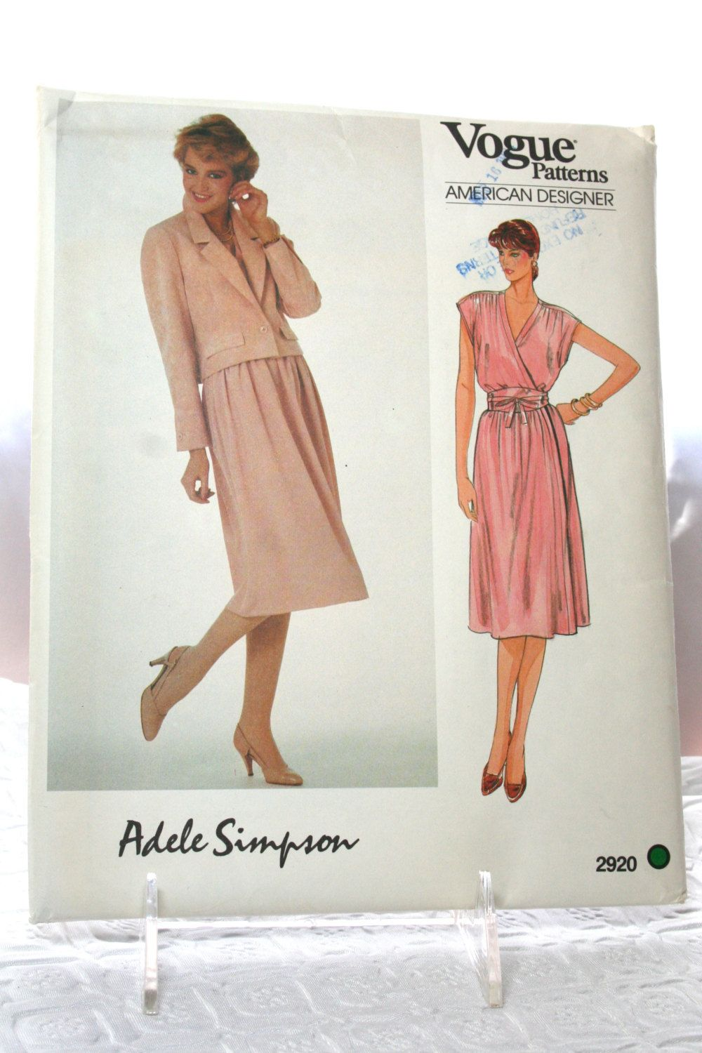 Vogue Sewing Pattern 2920, American Designer by Adele Simpson, Size ...