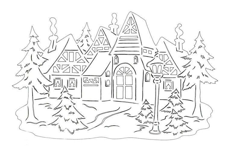 weihnachtslicher scherenschnitt vorlage h user bastelideen christmascards bilder und karten. Black Bedroom Furniture Sets. Home Design Ideas