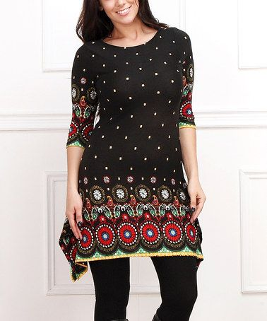 Another great find on #zulily! Black & Red Circle Sidetail Tunic - Plus #zulilyfinds