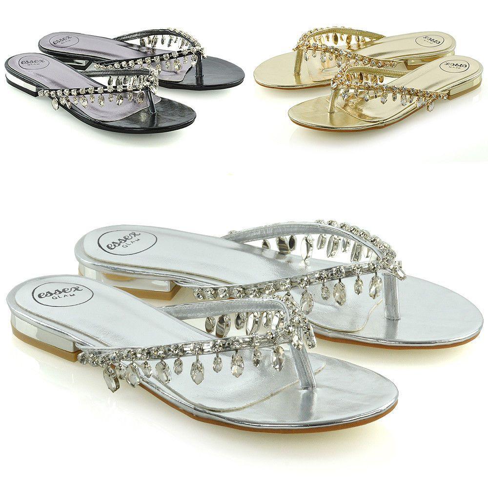 7bea62bc9040 Womens Flip Flop Diamante Sandals Ladies Sparkly Toe Post Holiday Beach  Sliders