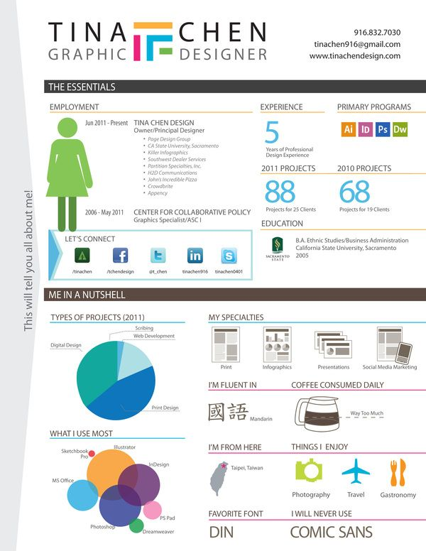 Infographic Resume By Tina Chen, Via Behance | Infographic Visual