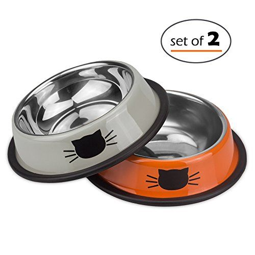 Petfamily Stainless Steel Cat Bowl Heavy Duty Cats and Dogs Bowls with NonSkid Rubber Base Pet Food Bowls 8 Ounce Set of 2 Orange  Grey ** Learn more by visiting the image link.