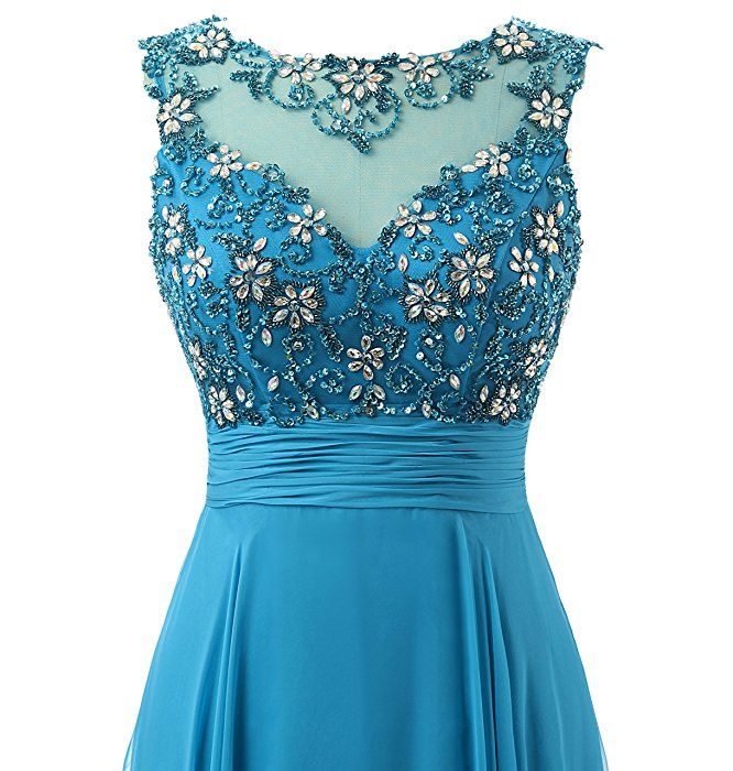 KISSBRIDAL Womens Beaded Long Prom Dresses Formal Gown With Sparkling Bust AC07 At Amazon Clothing Store