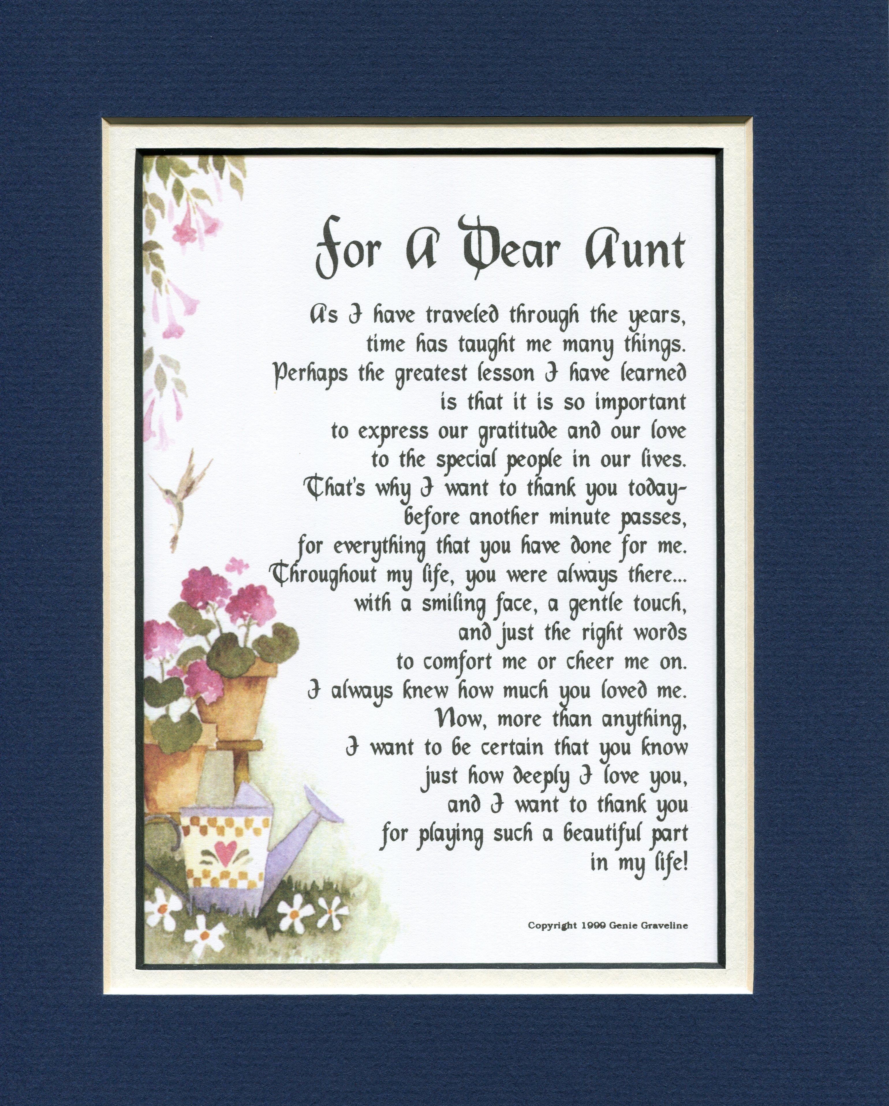For A Dear Aunt Aunt Uncle Niece Nephew Cousin Pinterest