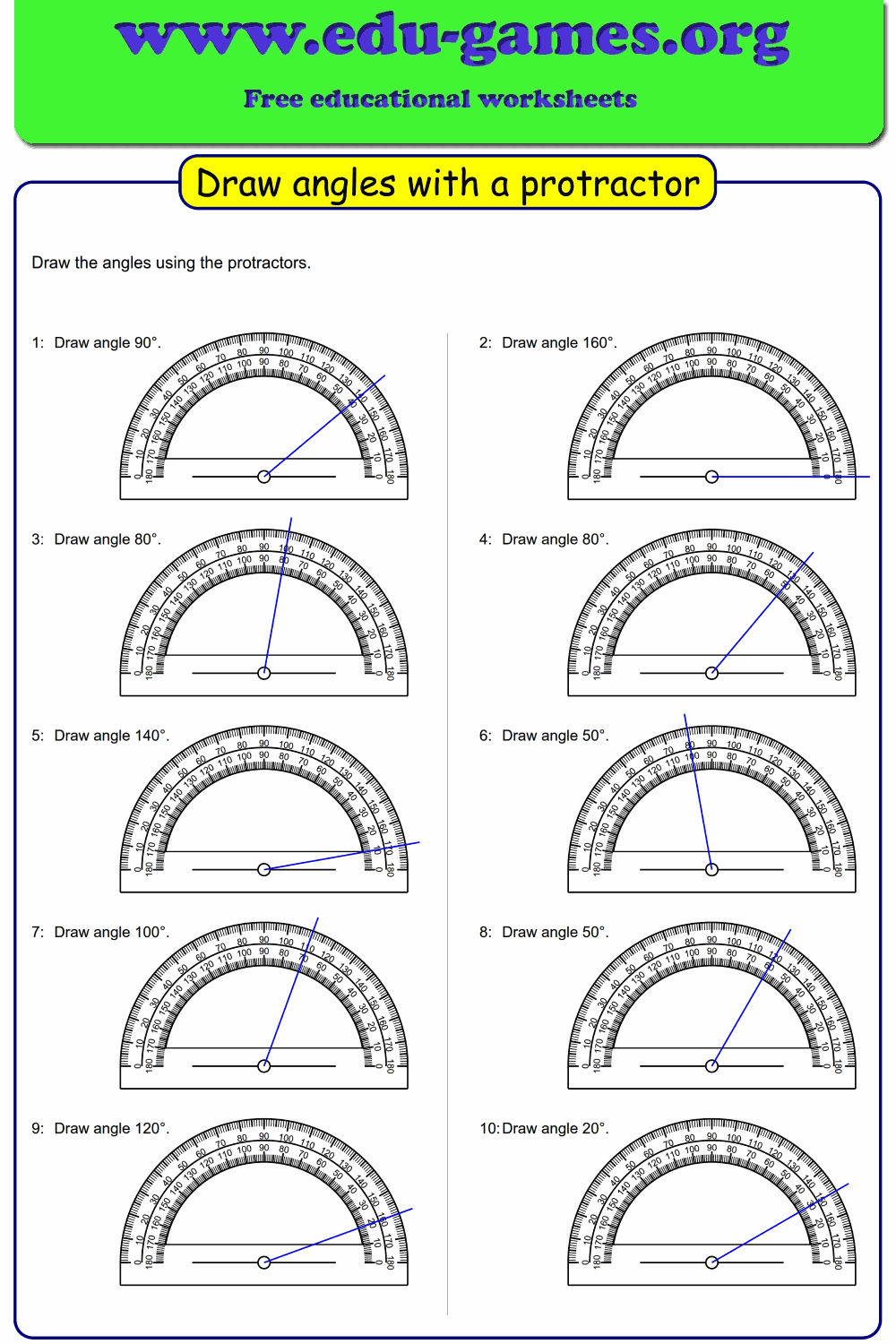 Draw angles with a protractor. Free worksheet with 10 ...