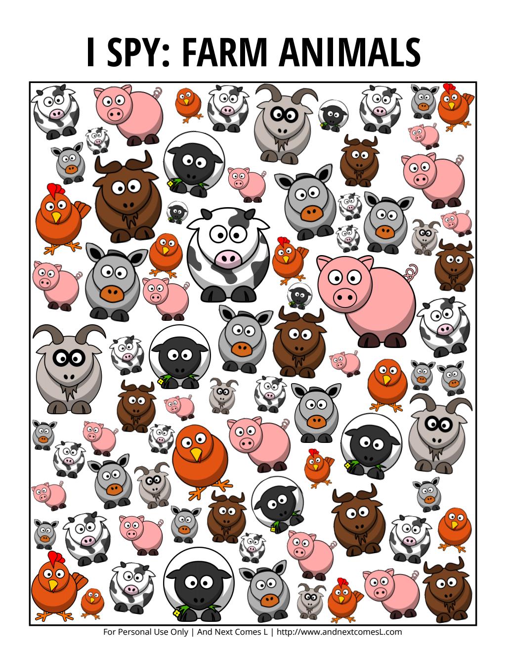 ispyfarmanimals.pdf Google Drive Farm animals theme