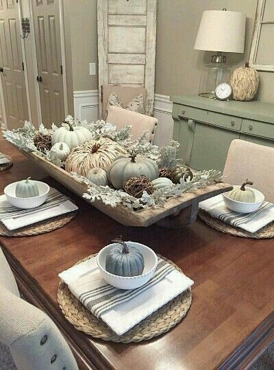 Fall Farmhouse Neutral Tablescape With White And Green