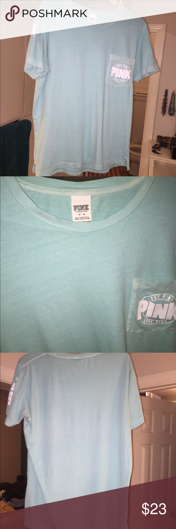 Turquoise VS M campus shirt Like new only worn 3 times, no stains or flaws. PINK Victoria's Secret Tops Tees - Short Sleeve
