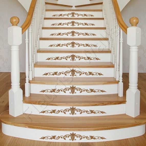 Vinyl stair decals damask decal scrolls for staircase riser decor stairway sticker decal