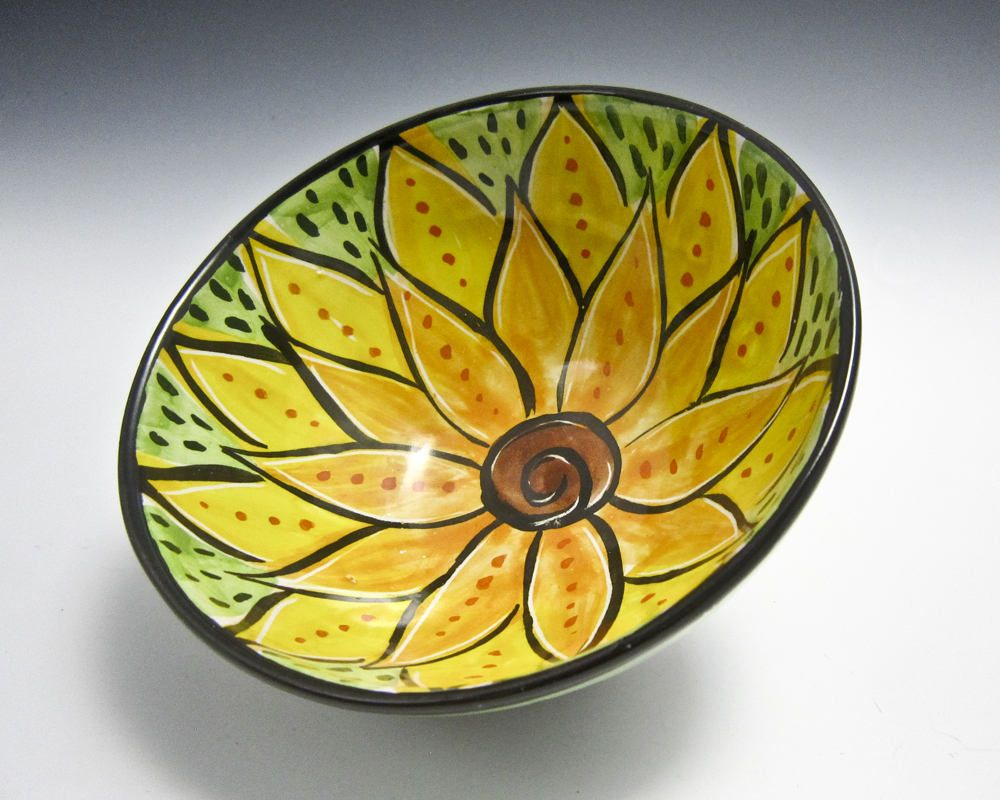 Small ceramic serving bowl yellow orange lotus flower clay bowl small ceramic serving bowl yellow orange lotus flower clay bowl majolica pottery kitchen prep bowl mandala pattern cereal bowl izmirmasajfo