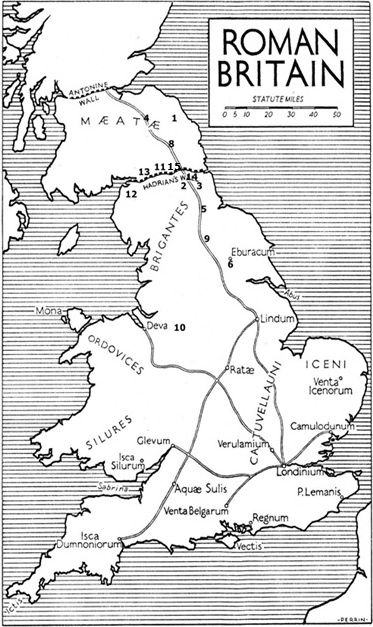 Map of the Arthurian battle sites and other important locations by August Hunt. 1.Mouth of the River Glen (Glein)  3. Low Shilford on the Tyne (Bassas River) 4. Forest near Eildons (Coit Celidon) 5. Binchester (Castle Guinnion) 6. York (urbe Legionis) 7. Avon estuary or Forth crossing (Tribuit) 8. High Rochester (Breguoin) 9. Catterick (Agned) 10. Buxton (Badon) 11 Castlesteads (Camlann) 12 Byrgh-By-Sands (Avalon) 13 Stanwix (Uxellodunum) 14 Corbrdge (Camelot) 15. Birdoswald (Banna)