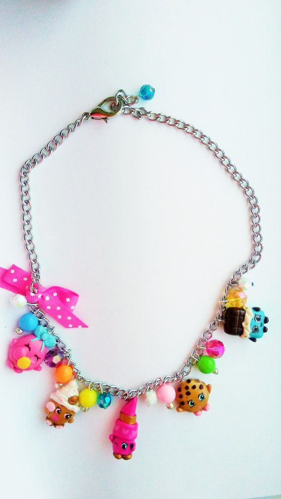 Shopkins Inspired Charm Necklace Kooky Cookie Lippy Lips Cheeky Chocolate Cupcake Queen