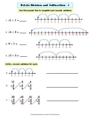 worksheet  related division and subtraction    use number line  worksheet  related division and subtraction    use number line or repeated  subtraction to solve the division problems