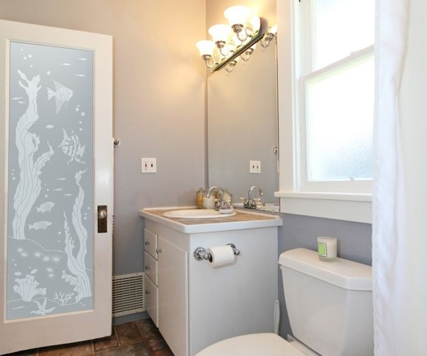 Beautiful Frosted Glass Pattern For Bathroom Entry Doors