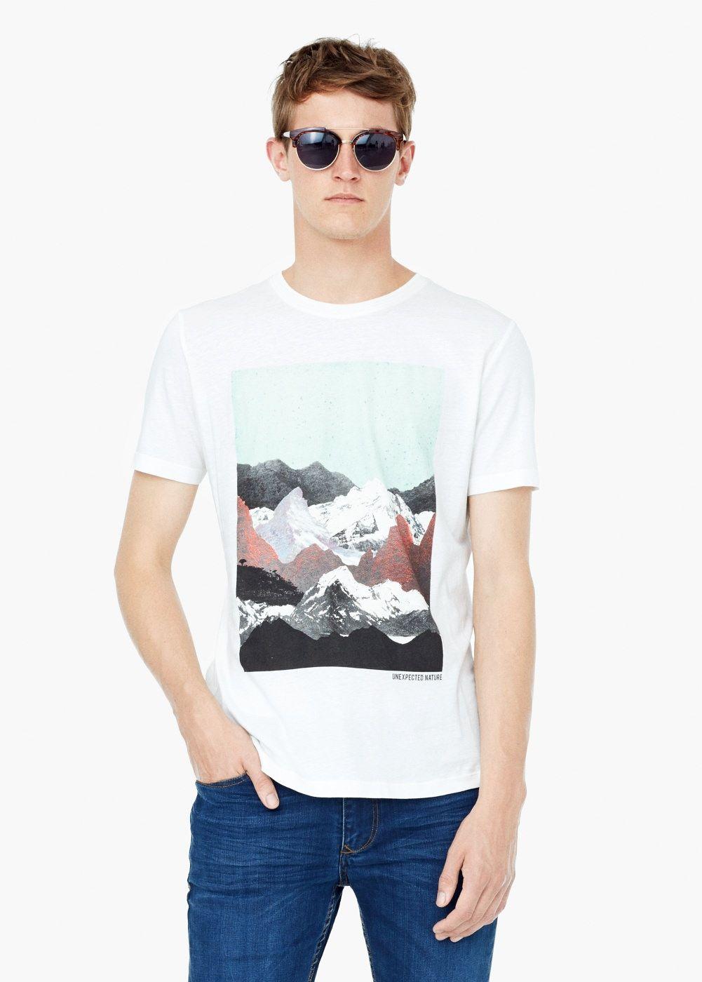Bedrucktes T Shirt Bergmotiv Herren Mens Tops T Shirt Clothes