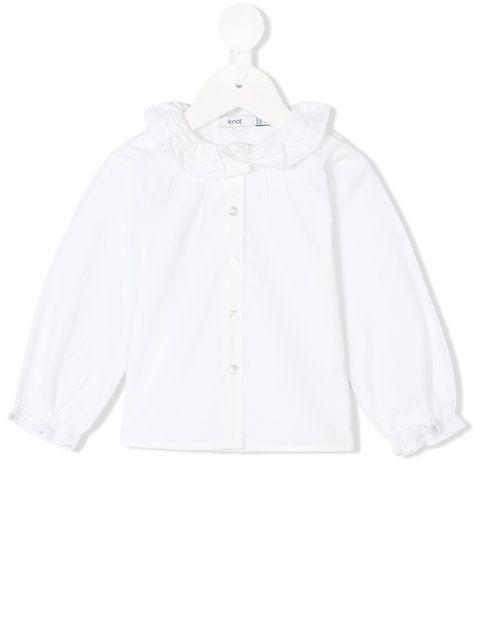 Knot ruffle trim blouse