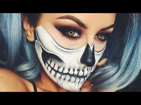 HALF SKULL & EXPOSED SPINE HALLOWEEN MAKEUP TUTORIAL - YouTube ...