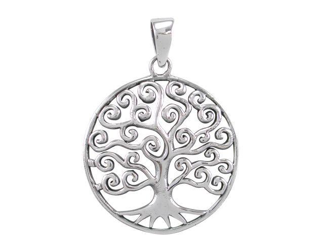 Sterling Silver 26mm Fancy Tree Of Life Pendant