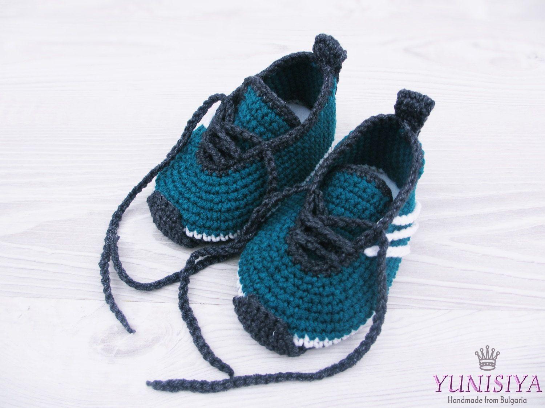 cb591c5dafc75 Petroleum blue Baby Shoes, Crochet Baby Shoes, Crochet Baby Booties ...
